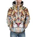 Retro Tribal Lion Print Long Sleeves Pullover Hoodie with Pocket