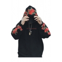 Stylish Rose Embroidered Long Sleeve Leisure Hoodie for Couple