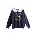 Peter Pan Collar Floral Deer Printed Long Sleeve Leisure Pullover Sweatshirt