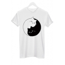 Yin Yang Cats Printed Round Neck Short Sleeve Leisure Tee