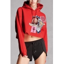 Fashion Pattern Floral Printed Long Sleeve Cropped Hoodie
