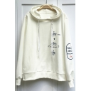 Popular Hand Letter Graphic Print Long Sleeves Pullover Hoodie