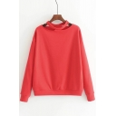 Retro Hollow Out Plain Round Neck Long Sleeves Pullover Sweatshirt