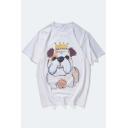 Cute Dog Cartoon Crown Print Round Neck Short Sleeves Casual Tee