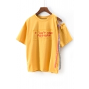 Stylish Strap Detail Letter Embroidery Half Sleeve Casual Summer Tee