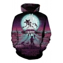 Digital Cartoon Monster Letter Printed Long Sleeve Loose Hoodie with Pocket