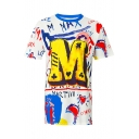 Digital Graffiti Letter Printed Round Neck Short Sleeve Tunic Tee