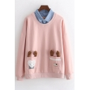 Lovely Antler Embellished Pockets Fake Two Pieces Contrast Lapel Collar Long Sleeve Pullover Sweatshirt