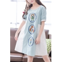 Color Block Cartoon Girl Printed Round Neck Short Sleeve Midi Smock Dress