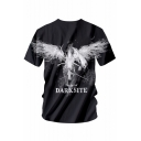 Feather Wings Letter Printed Round Neck Short Sleeve Leisure Tee