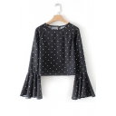 Spring's New Arrival Round Neck Long Sleeve Ruffle Cuff Detail Polka Dot Cropped Blouse