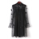 Pearl Floral Embellished Sheer Mesh Panel Two Pieces Mock Neck Long Sleeve Crochet Midi Shift Dress