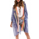 Vintage Style Open Front Bow Tied V-Back Split Side Tribal Print Kimono