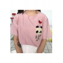Panda Heart Embroidered Patched Round Neck Striped Printed Short Sleeve Tee