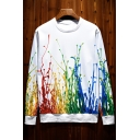 Original 3D Colorful Printed Round Neck Long Sleeve Pullover Sweatshirt
