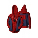 Digital Spider Man Series Printed Long Sleeve Zip Up Hoodie