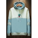 Color Block Cactus Embroidered Long Sleeve Drawstring Hood Loose Hoodie