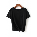Summer's New Arrival Simple Plain Knotted Hem Round Neck Short Sleeve Tee
