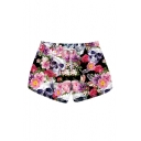 Floral Skull Printed Drawstring Waist Leisure Beach Shorts with Pockets