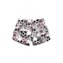 New Trendy Skull Floral Printed Drawstring Waist Beach Shorts