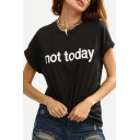 Unique Letter Print Round Neck Short Sleeves Casual Women's Tee
