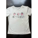 Simple Strawberry Japanese Print Round Neck Short Sleeves Casual Tee