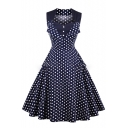 Trendy Polka Dotted Square Neck Button Detail Midi Fit & Flare Dress