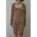 Summer Collection Scoop Neck Beaded Hollow Out Back Mesh Net Cover Up