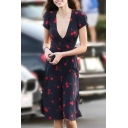Stylish Cherry Printed V Neck Tied Waist Short Sleeve Midi Wrap Dress