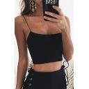 Simple Fashion Spaghetti Straps Plain Slim Fit Summer Cropped Cami Top