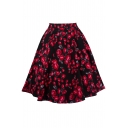 New Trendy Zipper Fly Rose Printed Flare Midi A-Line Skirt