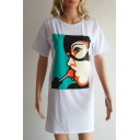 Top Sale Cartoon Lollipop Print Round Neck Short Sleeves Mini T-shirt Dress