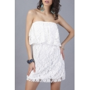 New Fashion Sexy Sleeveless Floral Lace Mini Tube A-Line Dress