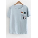 Childish Letter Rabbit Embroidery Chest Pocket Round Neck Short Sleeves Tee