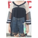 Summer Fashion V-Neck Wide Sleeve Color Block Loose Mesh Net Tee