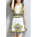 Lady Fashion Printed Round Neck Sleeveless Mini A-Line Dress