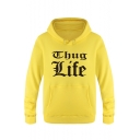 Simple Men's Fashion Letter Print Long Sleeves Pullover Hoodie with Pocket