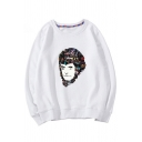 Top Sale Movie Character Pattern Round Neck Long Sleeves Pullover Sweatshirt