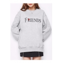 Fancy Letter Embroidery Round Neck Long Sleeves Pullover Tunic Sweatshirt