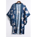 Elegant Floral Print Open Front Batwing Sleeve Loose Kimono Top