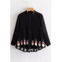 Fancy Popular Lace Panel Embroidery Pompom Detail Button Front Dipped Hem Shirt