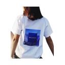 Retro Fancy Japanese Graphic Print Round Neck Short Sleeves Summer T-shirt