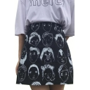 Popular Cartoon Graffiti Pattern High Waist Mini A-line Skirt
