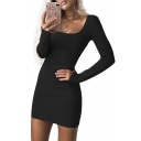 Sexy Slim Plain Square Neck Long Sleeve Mini Bodycon Dress