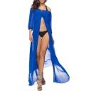 Summer Fashion Off the Shoulder Plain Blouson Sleeve Split Front Cover Up