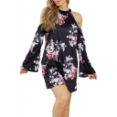 Floral Printed Round Neck Cold Shoulder Keyhole Back Mini A-Line Dress