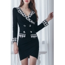Elegant V-Neck Button Detail Houndstooth Pattern Mini Wrap Bodycon Dress