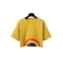 New Stylish Rainbow Printed Round Neck Short Sleeve Cropped Tee
