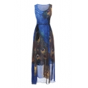 Bohemia Style Peacock Feather Printed Round Neck Sleeveless Tied Waist Maxi A-Line Dress