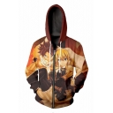 3D Cartoon Character Printed Zip Up Long Sleeve Hoodie with Pockets